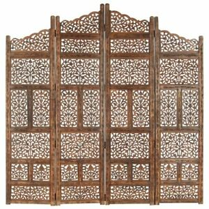 Hand Carved Wooden Room Divider Elegant Dressing Area Privacy Screen Partition