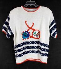 Vtg 90s Hipster Sweater MARISA CHRISTINA Beach Sunglasses Pop Art Women XL / XXL