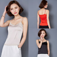 Lady Lace Trim Neck Vest Tank Top Cami Strappy Sleeveless T-Shirt Wet-Look Slim
