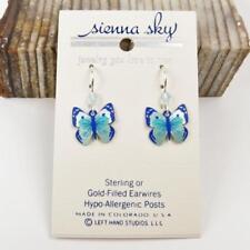 Sienna Sky Earrings Sterling Silver Hook Turquoise Deep Blue Fantasy Butterfly