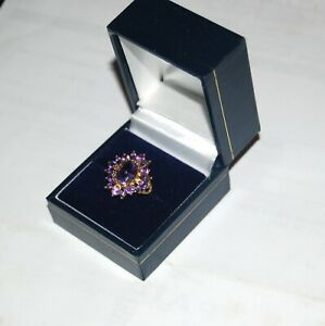9ct Gold Oval Amethyst Cluster Ring