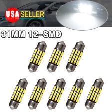 8x Super White 31mm 12SMD Festoon LED Interior Dome Light Bulbs DE3175 3022 3021