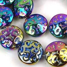 13Pcs/Bag Czech Pressed Glass Carved Patternn Disc Beads Metallic Rainbow 13mm