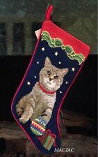 Cat Needlepoint Christmas Stocking NWT