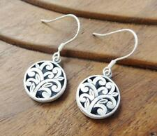 Brushed Matte Sterling Silver Open Scroll Vine Floral Round Stud Drop Earrings