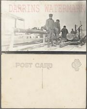 Vintage 1900s Photo Postcard Men Cutting Wood Sawmill Firewood in Snow 720856