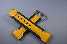 20MM Black WITH Yellow Arrow GENUINE LEATHER Watch Band,Strap HEAVY Solid Bucke
