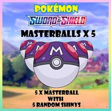 Masterballs x 5 with 5 free random shinys Pokemon Sword and Shield