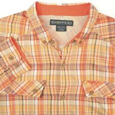 ExOfficio Vented Nylon Orange Purple White Plaid Fishing Hiking Shirt Mens XL