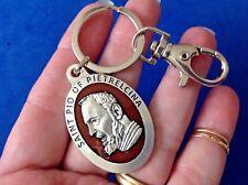 Rare Custom St PIO Religious Key Chain Key Ring KEYCHAIN ENAMEL Saint Medal