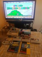 Super Nintendo - SNES - TESTED + boxed games + modern TV cable + plug in + play