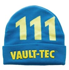 Fallout 111 Vault-Tec Cuff Beanie Knitted Hat Blue N' Yellow Winter Tuque