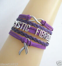 NEW Infinity CYSTIC FIBROSIS Cancer Ribbon Charms Suede Leather Braided Bracelet