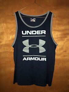 Mens Under Armour Workout Sleeveless Tee Gym Exercise Size Medium Blue Red Comfy