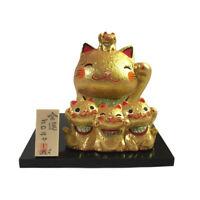 Familia Gato Japonés Dorado 7cm Maneki Neko Cerámica Fabricado en Japón 40573