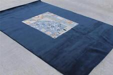 RSG279 Blue Color Thick Tibetan Woolen Rug 6.7' X 9.8' Handmade in Nepal