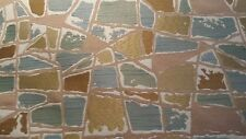 Aqua Tan Cream Abstract Geometric Cotton Upholstery Fabric