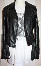 TOPSHOP Black Faux Leather Biker Jacket 10 12 14 Super Soft CLASSIC DOUBLE RIDER