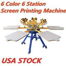 Usa 6 Color 6 Station T Shirt Silk Screen Printing Machine Press Printer