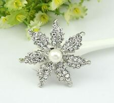 Faux Pearl Diamante Rhinestone Crystal Leaf Star Flower Vintage Look Brooch Pin