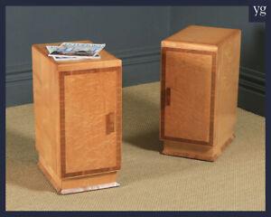 Antique English Pair Art Deco Birds Eye Maple & Walnut Bedside Cupboards Tables