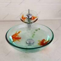 Bathroom Goldfish Tempered Glass Basin Sink Brass Mixer Waterfall Brass Tap Set