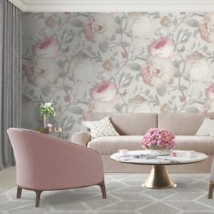 Giorgio Cream and Pink Large Scale Floral Wallpaper Textured Heavy Vinyl GB8114