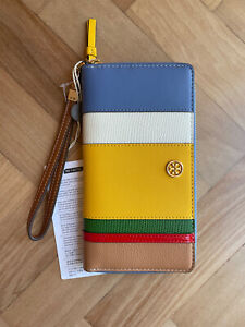 NEW Tory Burch Robinson Balloon Stripe Leather Continental Wallet