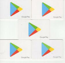 Lot of 5x Google Play Generic gift Card ** NO BALANCE **