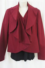 INC Jacket Sz S Berry Kiss Red Diffusion Ruffled Lapel Business Cocktail