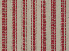 Red Woven Ticking Stripe Cotton Twill Material Vintage Inspired By The Yard