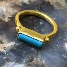 Handmade Turkish Designer Sideway Turquoise Ring 24K Gold Over Sterling Silver
