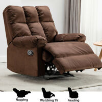 Overstuffed Recliner Chair Heavy Duty Material Padded Armrest Back Manual Sofa