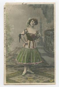 c 1904 French Music Hall CUTE DANCER Delmares Dancer in Costume photo postcard