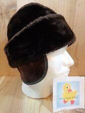 Vintage RUSSIAN COSSACK HAT Dark Brown Faux Fur Large Winter