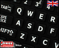 English UK LARGE LETTER Black Keyboard Stickers & White Letters Laptop Notebook