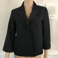 Talbots Womens Black Suit Jacket Size 6 Tailored Blazer 3/4 Sleeves NEW $169