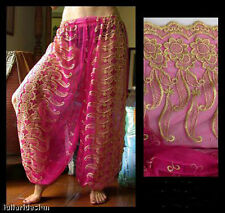 Harem Pants Belly Dance Fuchsia Pink w/ Gold Brocade Slit 2