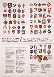 WW2 Poster Shoulder Insignia US Army Combat division Patch print wall art WWII