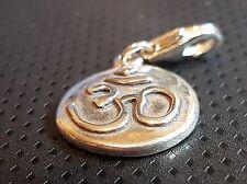 clip on Ohm Sanskrit Symbol Charm Sterling Silver .925 Om Yoga Buddhism Hindu