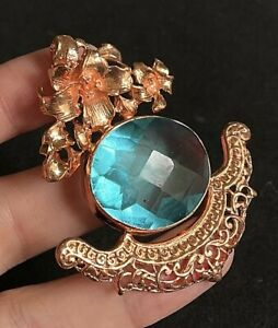 """Rose Gold Tone Blue Glass or Crystal Floral Pendant 2 1/2"""" C06"""