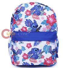 """Lilo and Stitch Large School Backpack with Angel 16"""" AOP Book Bag Ukulele White"""