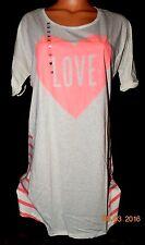 Victorias Secret PIECED Graphic Sleepshirt LOVE  Heart Night Gown Pajamas NWT L