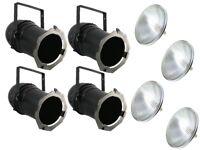 4 x PAR 64 Long Nose Can + Lamp Stage Theatre School Black 1000w MFL PAR64 Light