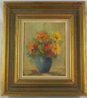 Vintage Oil on Canvas Impressionist Painting Still Life w/Flowers by Alexander