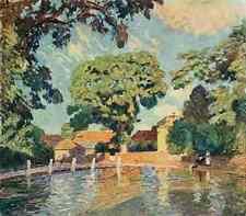 A4 Photo Claus Emile 1849 1924 The Studio 1915 Village pond Upton Grey Hampshire