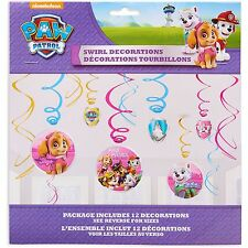 Paw Patrol Girls Swirl Decorations Ceiling Dangler Birthday Party Supplies ~ 12
