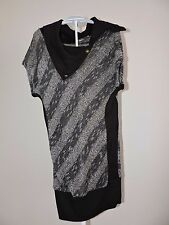 Arden B Long Sweater Black Silver Cowl Neck Fall Fashion Career Casual Light XS