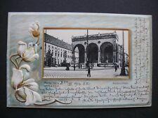 Herrliche JUGENDSTIEL - GOLD - PRÄGE - LITHO 1904 - MÜNCHEN - FELDHERRNHALLE