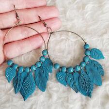 Vintage Womens Antique-Tone Blue Leaves Antique-Tone-Ring Dangle Hook Earrings